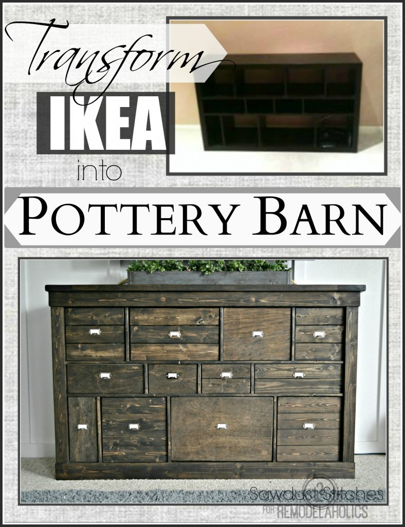 Can Transform Ikea Shelving Into A Pottery Barn Esque Media Console