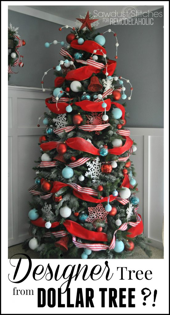 worthy christmas tree using supplies mostly from the dollar tree it even has step by step directions if you already have a arsenal of ornaments - Designer Christmas Tree