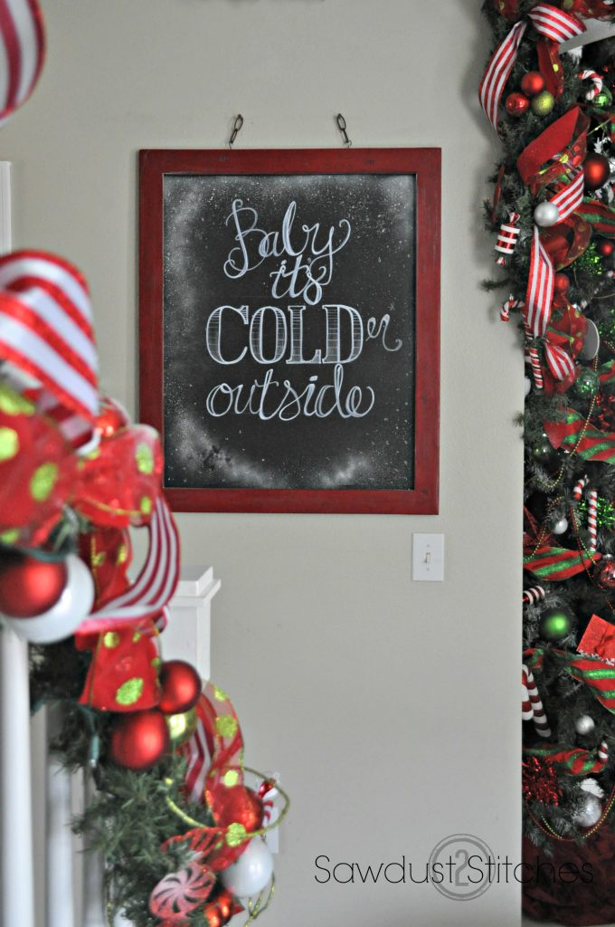 sawdust2stitches holiday home tour  chalkboard sign