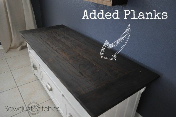 media console makeover plank the top sawdust2stitches