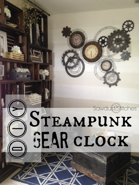 Steampunk Gear Clock Sawdust 2 Stitches