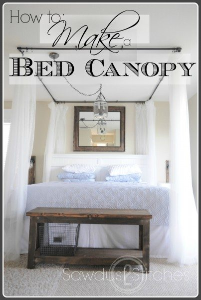 Bed canopy with text border