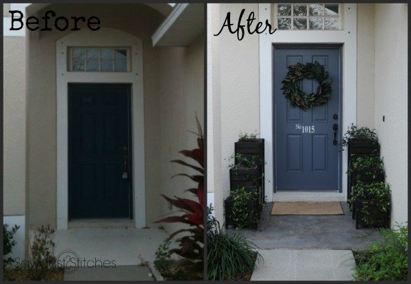 front porch  makeover with planters Sawdust 2 Stitches