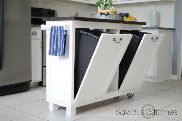 Kitchen Waste Basket Holder: Cabinet Transformed Into A Kitchen Island