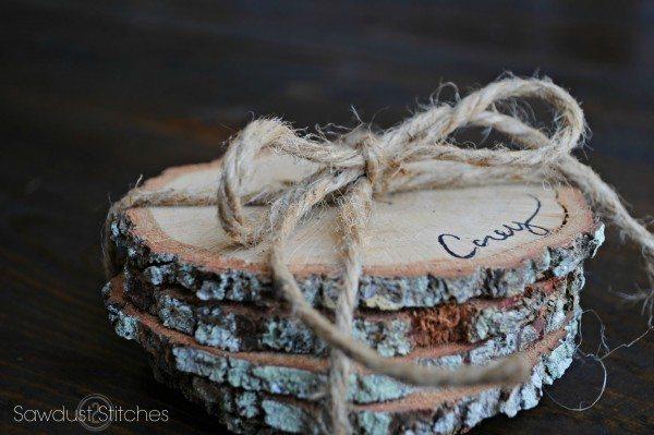 Rustic Coasters Sawdust2stitches for www.prettyhandygirl.com
