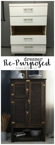 Dresser Makeover Repurposed into Ice Box by www. Sawdust2stitches.com