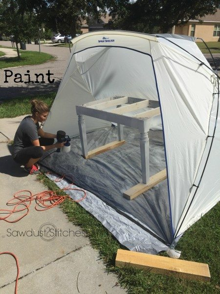 Paint an entire table in just a few minutes, using a Homeright Sprayer. www.sawdust2stitches.com