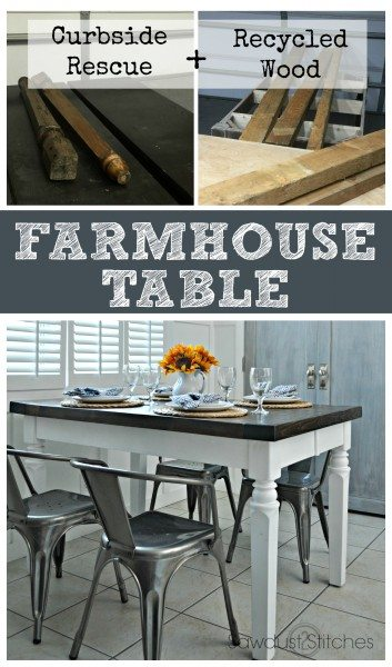 What do you do with a curbside rescue and some reclaimed lumber Make a GORGEOUS farmhouse table of course! #homeright