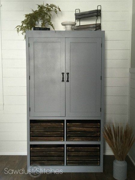 Free Standing Pantry With Crate Organization Sawdust 2 Stitches
