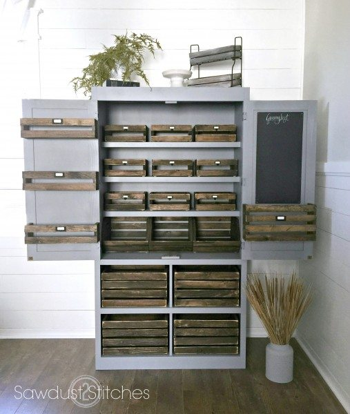 Free Standing Pantry With Crate Organization Sawdust 2