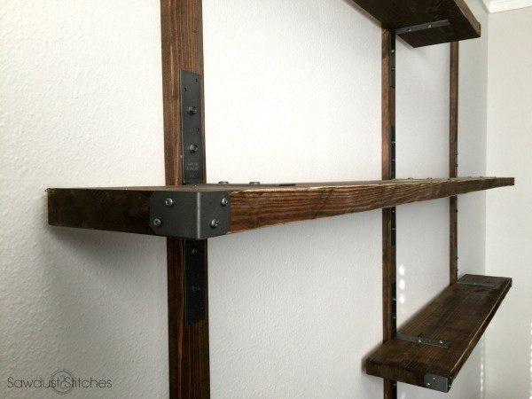 Industrial Style Shelving using Simpson Strong-Tie connectors.