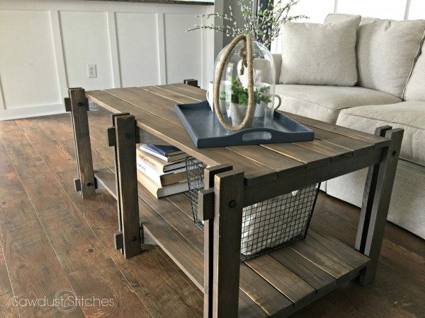 Rustic farmhouse coffee table sawdust 2 stitches for How to build a rustic coffee table