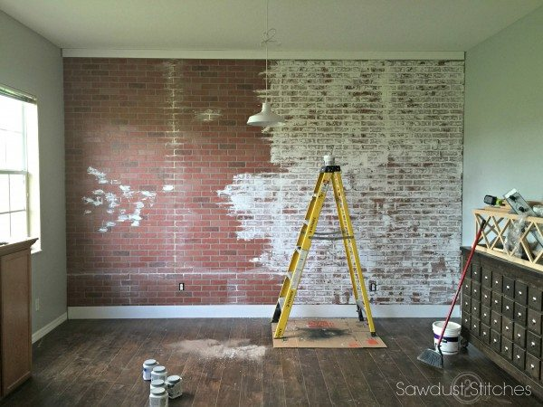 How to faux brick wall sawdust 2 stitches How to disguise wood paneling