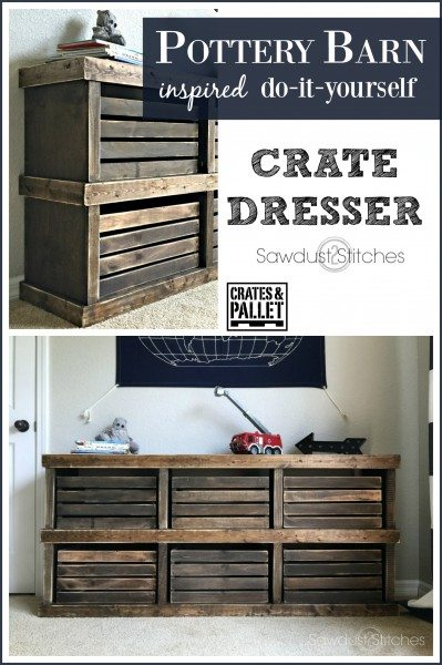 DIY  Pottery Barn Inspired Crate Dresser by Sawdust2Stitches