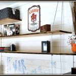 Hanging Shelves with Faux Live Edge and Galvanized Wire