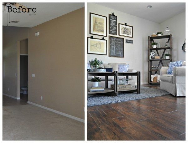 Family Room Makeover using Select Surfaces Flooring