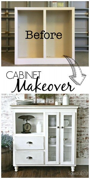 Cabinet Makeover with step-by-step instructions by Sawdust 2 Stitches