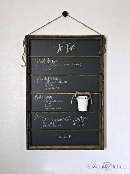 Chalkboard organization by sawdust2stitches.com