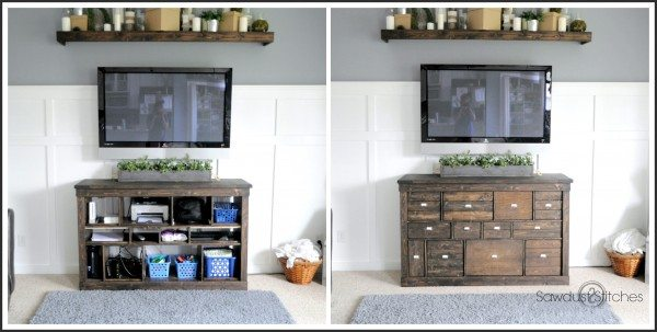 Transform an Ikea console into a beautiful Pottery Barn Style Apothecary by Sawdust 2 Stitches