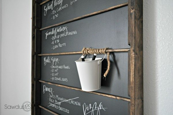 chalkboard organizer by sawdust2stitches