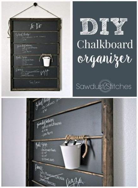 -the ultimate DIY chalkboard organizer. Cute and functional ! by sawdust2stitches