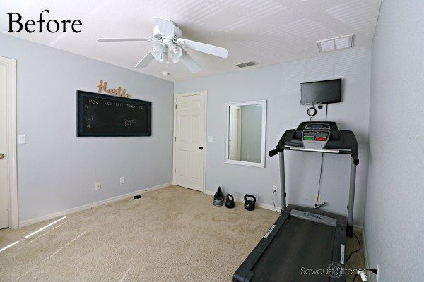 Home Gym Makeover BEFORE by Sawdust2Stitches.com