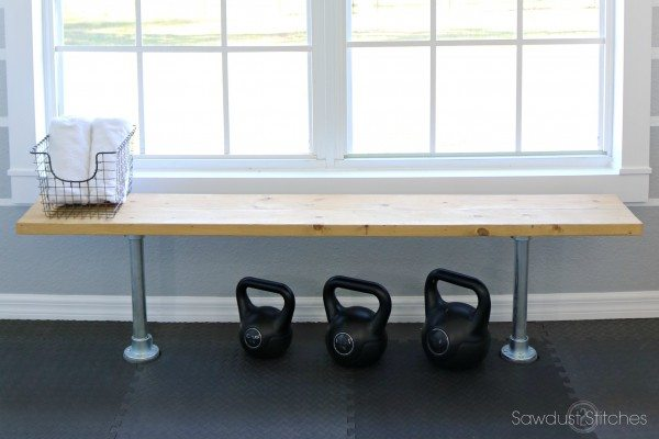 Home Gym Makeover Locker Room Bench by Sawdust 2 Stitches.com