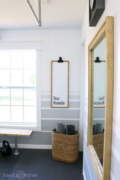 Home gym makeover reveal sawdust stitches