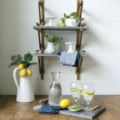 Farmhouse Shelves with Concrete Trays