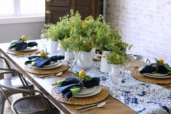 Summer Lemon Tablescape Sawdust 2 Stitches