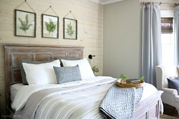 Master bedroom makeover with shiplap accent wall by www sawdust2stitiches com 2