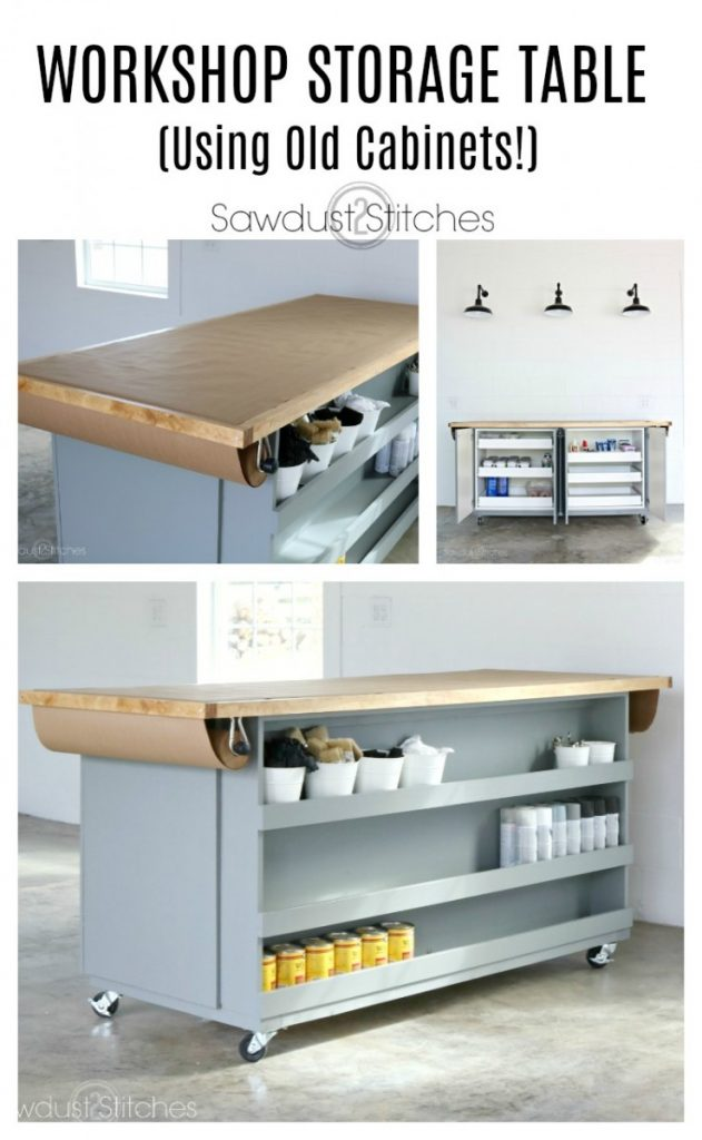 Workshop Paint Assembly Table - Using Old Cabinets