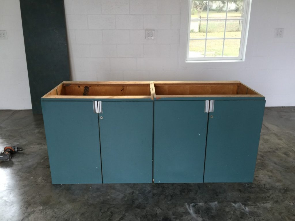 Old cabinets used for re-purpose project.