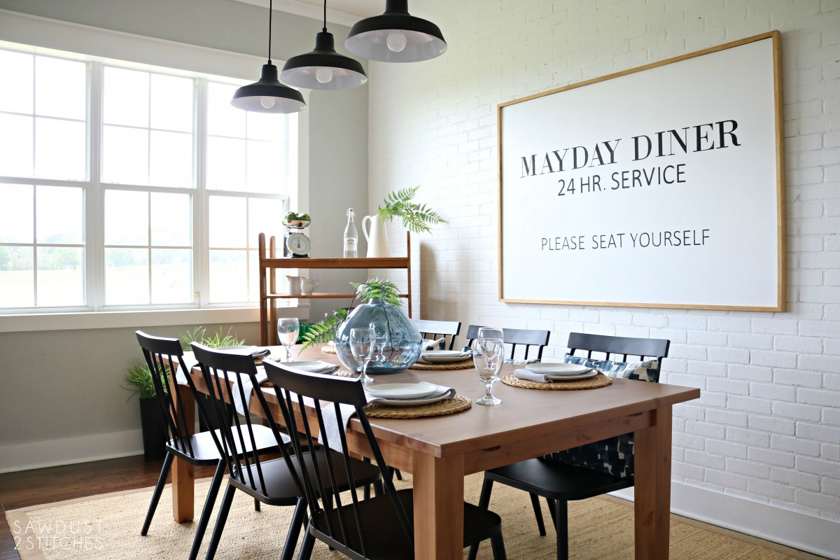 Modern Farmhouse Dining Room Makeover - Sawdust 2 Stitches