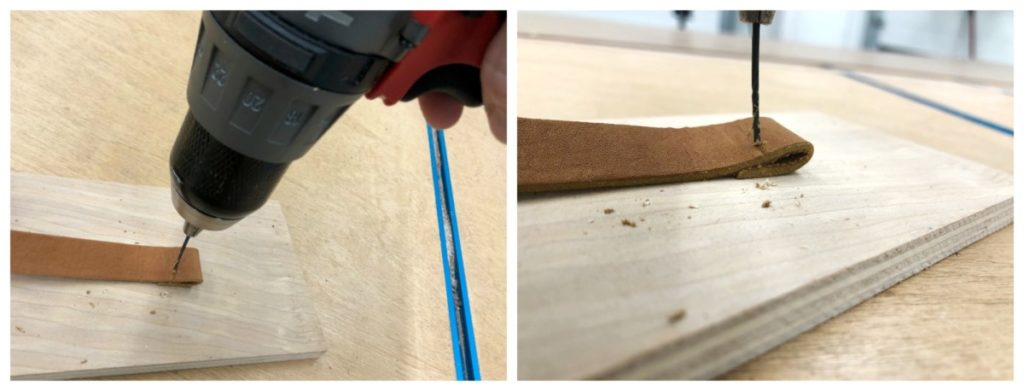 Creating a leather strap for an r.v. curtain.