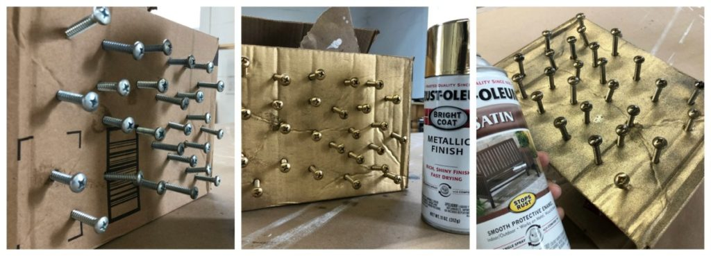 How to spray paint hardware antique brass for r.v. curtains.