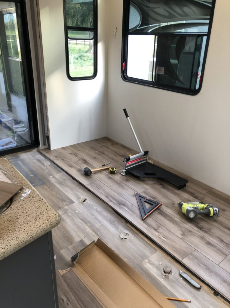 Toy Hauler Makeover floor replacement.