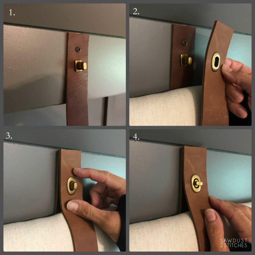 Installing brass closures on a DIY upholstered headboard with leather straps