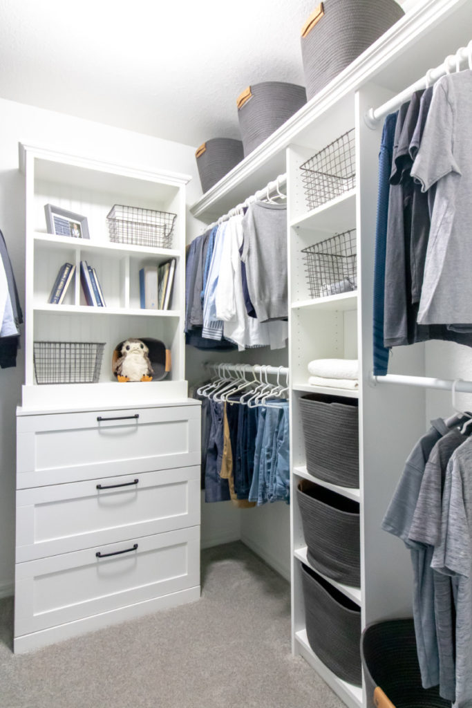Kids closet makeover using Ikea bookcases